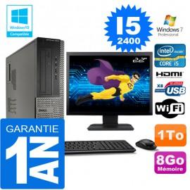 """PC DELL 3010 DT Core I5-2400 Ram 8Go Disque 1 To Wifi W7 Ecran 22"""""""