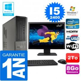 """PC DELL 3010 DT Core I5-2400 Ram 8Go Disque 2 To Wifi W7 Ecran 22"""""""