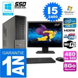 """PC DELL 3010 DT Core I5-2400 Ram 8Go Disque 480 Go SSD Wifi W7 Ecran 22"""""""