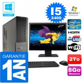 """PC DELL 3010 DT Core I5-2400 Ram 8Go Disque 2 To Wifi W7 Ecran 27"""""""