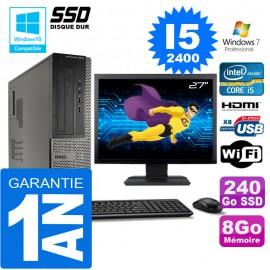 """PC DELL 3010 DT Core I5-2400 Ram 8Go Disque 240 Go SSD Wifi W7 Ecran 27"""""""