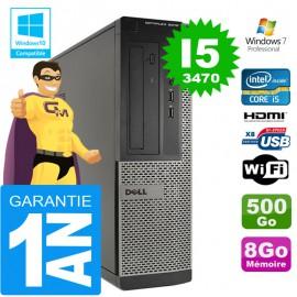 PC DELL 3010 DT Core I5-3470 Ram 8Go Disque 500 Go Wifi W7