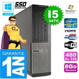 PC DELL 3010 DT Core I5-3470 Ram 8Go Disque 480 Go SSD Wifi W7