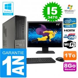 """PC DELL 3010 DT Core I5-3470 Ram 8Go Disque 1 To Wifi W7 Ecran 19"""""""
