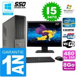"""PC DELL 3010 DT Core I5-3470 Ram 8Go Disque 480 Go SSD Wifi W7 Ecran 19"""""""