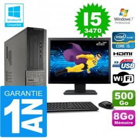 """PC DELL 3010 DT Core I5-3470 Ram 8Go Disque 500 Go Wifi W7 Ecran 22"""""""