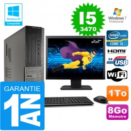 """PC DELL 3010 DT Core I5-3470 Ram 8Go Disque 1 To Wifi W7 Ecran 22"""""""
