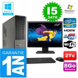 """PC DELL 3010 DT Core I5-3470 Ram 8Go Disque 2 To Wifi W7 Ecran 22"""""""