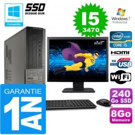 """PC DELL 3010 DT Core I5-3470 Ram 8Go Disque 240 Go SSD Wifi W7 Ecran 22"""""""