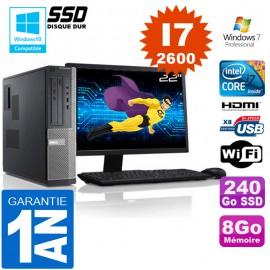 """PC DELL 390 DT Core I7-2600 Ram 8Go Disque 240 Go SSD Wifi W7 Ecran 22"""""""