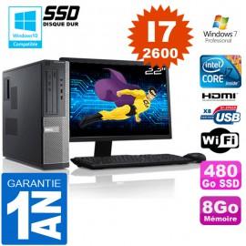 """PC DELL 390 DT Core I7-2600 Ram 8Go Disque 480 Go SSD Wifi W7 Ecran 22"""""""