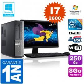 """PC DELL 390 DT Core I7-2600 Ram 8Go Disque 250 Go Wifi W7 Ecran 27"""""""