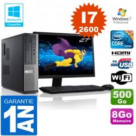 """PC DELL 390 DT Core I7-2600 Ram 8Go Disque 500 Go Wifi W7 Ecran 27"""""""