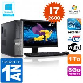 """PC DELL 390 DT Core I7-2600 Ram 8Go Disque 1 To Wifi W7 Ecran 27"""""""