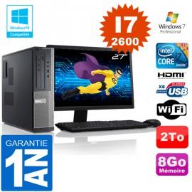 """PC DELL 390 DT Core I7-2600 Ram 8Go Disque 2 To Wifi W7 Ecran 27"""""""