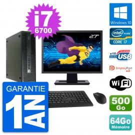 "PC HP 600 G2 SFF Ecran 27"" Intel i7-6700 RAM 64Go Disque 500Go Windows 10 Wifi"