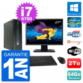 "PC HP 600 G2 SFF Ecran 27"" Intel i7-6700 RAM 64Go Disque Dur 2To Windows 10 Wifi"