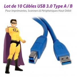 Lot x10 Câbles USB 3.0 Type A -B Mâle Imprimante Scanner Haut Débit 80cm NEUFS