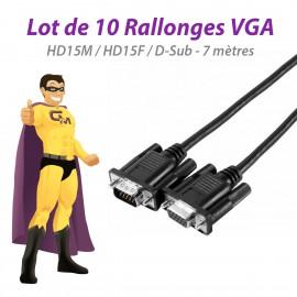 Lot x10 Rallonges VGA 7 mètres Mâle Femelle M/F 117830 HD15M HD15F D-Sub NEUVES