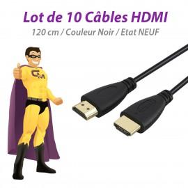 Lot x10 Câbles Adaptateurs HDMI Mâle vers HDMI Mâle 120cm Noir NEUFS