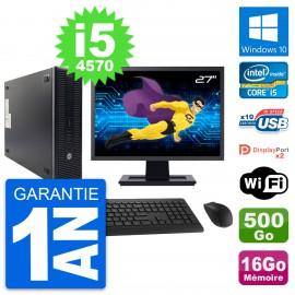 "PC HP 600 G1 SFF Ecran 27"" Intel i5-4570 RAM 16Go Disque 500Go Windows 10 Wifi"