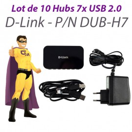 Lot x10 Hubs USB PC Mac D-Link DUB-H7 7 Ports USB 2.0 +Bloc Chargeur +Câble USB