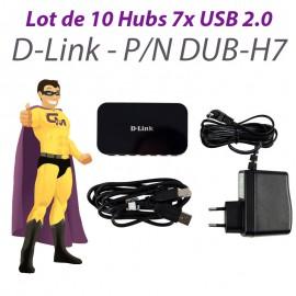 Lot x10 Hubs USB PC Mac D-Link DUB-H7 7 Ports USB 2.0 +Bloc Chargeur +Câble USB