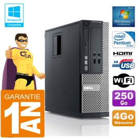 PC DELL 390 SFF Intel G630 Ram 4Go Disque 250 Go Graveur DVD Wifi W7
