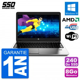 PC Portable 15.6'' HP ProBook 455 G1 AMD A4-4300M RAM 8Go SSD 240Go W10