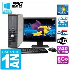 """PC DELL 380 SFF Intel E5700 Ram 8Go Disque 240 Go SSD Wifi W7 Ecran 22"""""""
