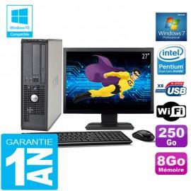 """PC DELL 380 SFF Intel E5700 Ram 8Go Disque 250 Go Wifi W7 Ecran 27"""""""