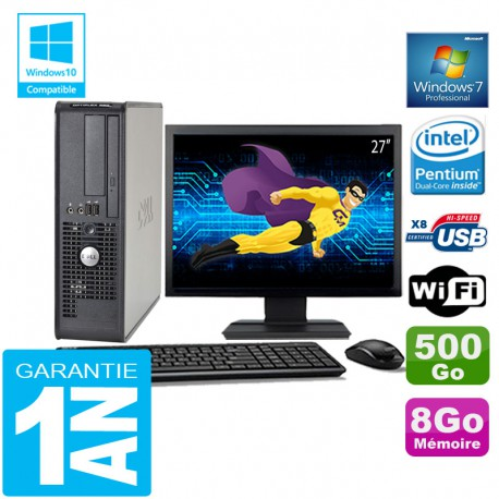 """PC DELL 380 SFF Intel E5700 Ram 8Go Disque 500 Go Wifi W7 Ecran 27"""""""
