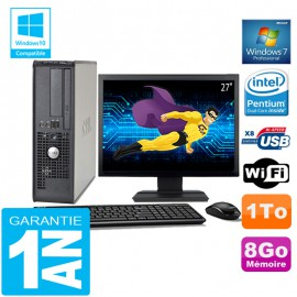 PC DELL 380 SFF Intel E5700 Ram 8Go Disque 1 To Wifi W7 Ecran 27""