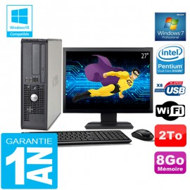 PC DELL 380 SFF Intel E5700 Ram 8Go Disque 2 To Wifi W7 Ecran 27""