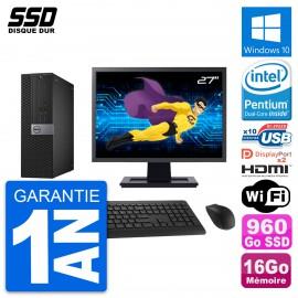 """PC Dell 7040 SFF Ecran 27"""" Intel G4400 RAM 16Go SSD 960Go HDMI Windows 10 Wifi"""