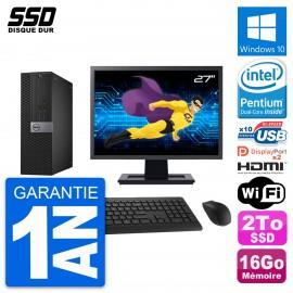 """PC Dell 7040 SFF Ecran 27"""" Intel G4400 RAM 16Go SSD 2To HDMI Windows 10 Wifi"""