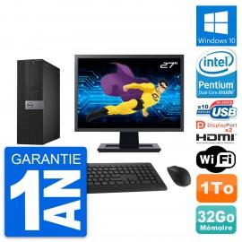 """PC Dell 7040 SFF Ecran 27"""" Intel G4400 RAM 32Go Disque 1To HDMI Windows 10 Wifi"""