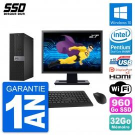"""PC Dell 7040 SFF Ecran 27"""" Intel G4400 RAM 32Go SSD 960Go HDMI Windows 10 Wifi"""