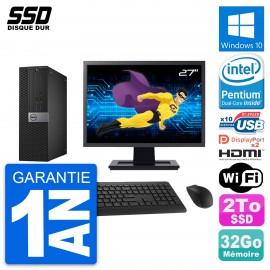 """PC Dell 7040 SFF Ecran 27"""" Intel G4400 RAM 32Go SSD 2To HDMI Windows 10 Wifi"""