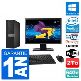 """PC Dell 7040 SFF Ecran 27"""" Intel G4400 RAM 64Go Disque 2To HDMI Windows 10 Wifi"""