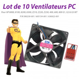 Lot x10 Ventilateurs PC HP 8100 8200 8300 Z210 Z220 Z230 400 600 800 G1 G2 G3 MT