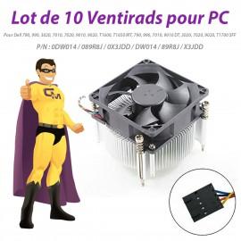 Lot x10 Ventirads Dell 0DW014 089R8J 0X3JDD 990 T1600 MT 9010 DT 9020 T1700 SFF
