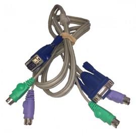 Câble adaptateur KVM VGA Mâle + PS/2 Mâle vers VGA Femelle + PS/2 Mâle