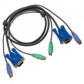Câble KVM ATEN 2L-5002P/C VGA Mâle + PS/2 Mâle vers VGA Femelle + PS/2 Mâle 1.8m