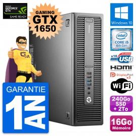 PC HP 800 G2 SFF Gaming GTX 1650 i5-6500 RAM 16Go 240Go SSD + 2To Windows 10
