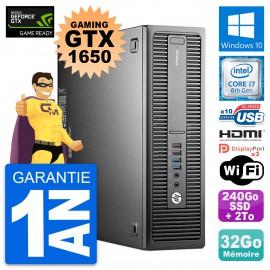 PC HP 800 G2 SFF Gaming GTX 1650 i7-6700 RAM 32Go 240Go SSD + 2To Windows 10
