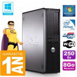 PC DELL 380 DT Intel E5300 Ram 8Go Disque 250 Go Graveur DVD Wifi W7