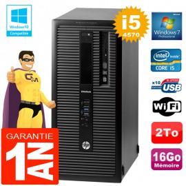 PC Tour HP ProDesk 600 G1 Core I5-4570 Ram 16 Go Disque 2 To Graveur DVD Wifi W7
