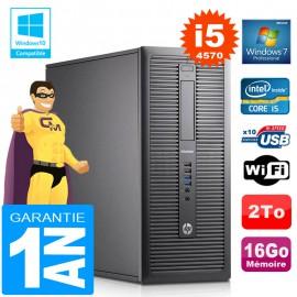 PC Tour HP EliteDesk 800 G1 Core I5-4570 Ram 16Go Disque 2To Graveur DVD Wifi W7