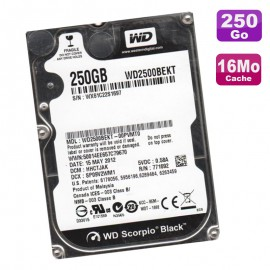 "Disque Dur 250Go SATA 2.5"" WD WD2500BEKT-00PVMT0 Black Scorpio 16Mo 7200RMP"